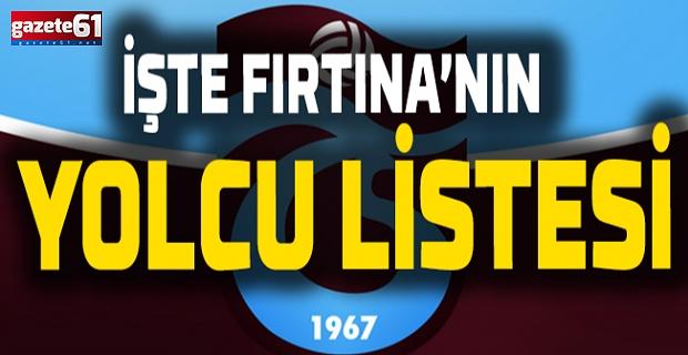 Trabzonspor'un Yolcu Listesi
