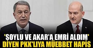 'Süleyman Soylu ve Hulusi Akar'a suikast emri aldım' diyen PKK'lıya müebbet hapis